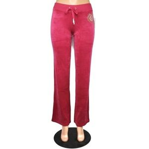 Juicy Couture Womens Velour Studded Medallion Pant